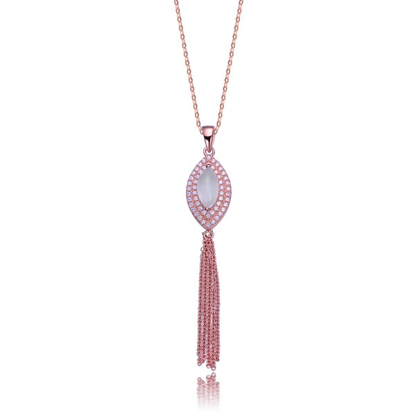 Collette Z Rose Gold Overlay and Cubic Zirconia Tassel Necklace