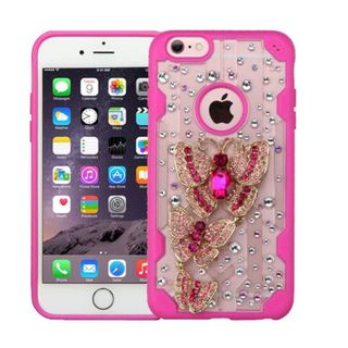 Insten Clear/Hot Pink 3D Butterfly Hard Snap-on Crystal Case Cover with Diamond for Apple iPhone 6 Plus/ 6s Plus