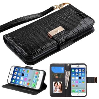 Insten Crocodile Leather Case Cover Lanyard with Stand/ Wallet Flap Pouch/ Photo Display for Apple iPhone 6/ 6s