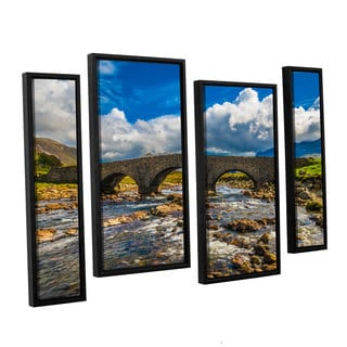 ArtWall Steve Ainsworth's 'The Old Stone Bridge' 4-piece Floater Framed Canvas Staggered Set