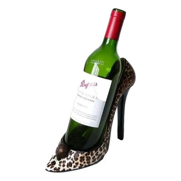 Elegance Leopard Stiletto Shoe Bottle Holder