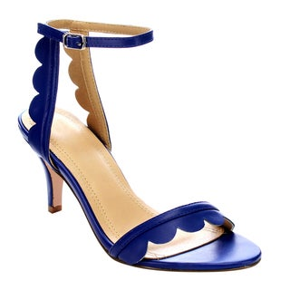 Beston Cd43 Women's Mid Heel Single Band Ankle Strap Floral Edge Sandals