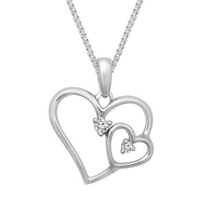 Sterling Silver 1/10ct TDW Double Heart Pendant (H-I, I2-I3)