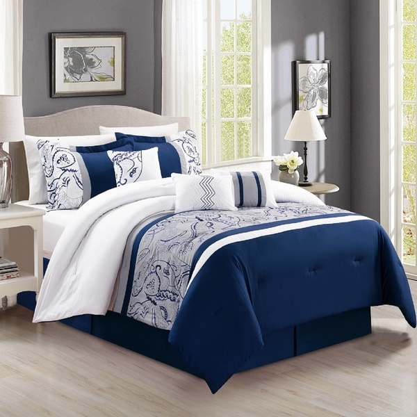 Fashion Street Peacock 7 Piece Embroidered Comforter Set