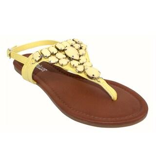 Olivia Miller Omm-9938 Rhinestone T-strap Thong Sandals