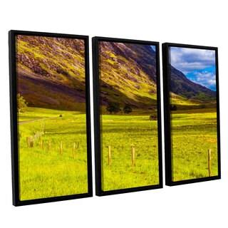 ArtWall Steve Ainsworth's 'Highland Way I' 3-piece Floater Framed Canvas Set