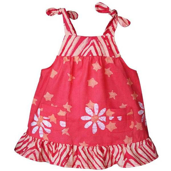Global Mamas Hand Batiked Baby Pocket Dress - Papaya Daisy Star (Ghana)