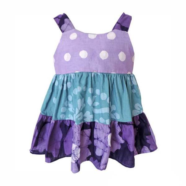 Global Mamas Hand Batiked Baby Gypsy Dress - Violet Patchwork (Ghana)