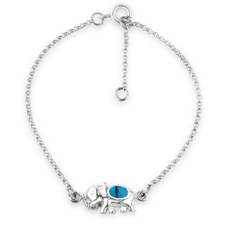 Enchanting Baby Elephant Stone Inlay .925 Silver Bracelet (Thailand)