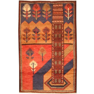 Herat Oriental Afghan Hand-knotted 1970s Semi-antique Tribal Balouchi Red/ Navy Wool Rug (2'10 x 4'6)
