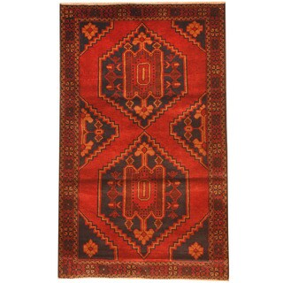 Herat Oriental Afghan Hand-knotted 1970s Semi-antique Tribal Balouchi Red/ Brown Wool Rug (2'11 x 4'9)