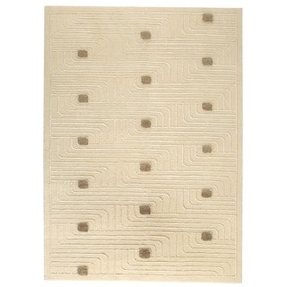 Hand-knotted Verona White Rug (4'6 x 6'6'')
