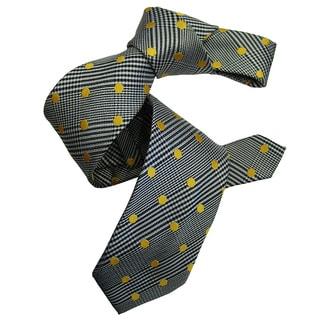 Dmitry Men's Grey Italian Patterned Silk Tie