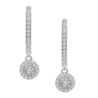 10K White Gold 1/3 TDW Diamond Halo Hoop Earrings (H-I, I2-I3)