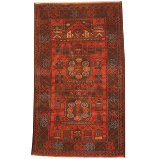 Herat Oriental Afghan Hand-knotted 1970s Semi-antique Tribal Balouchi Red/ Charcoal Wool Rug (2'7 x 4'6)