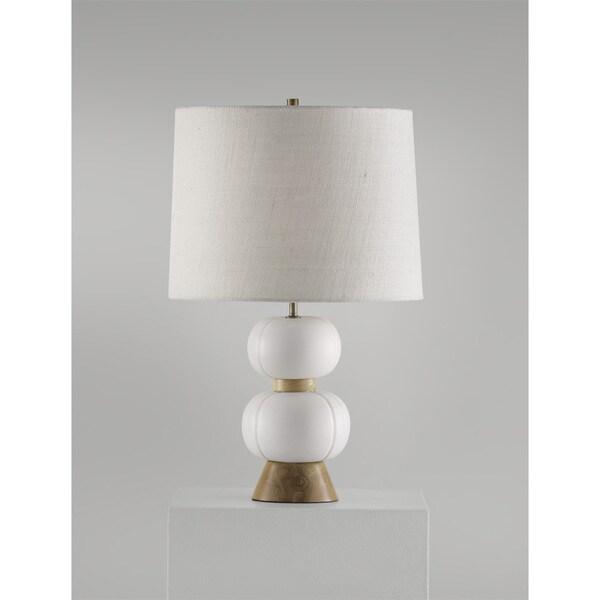 Michelin Contemporary Ceramic and Burlap Table Lamp