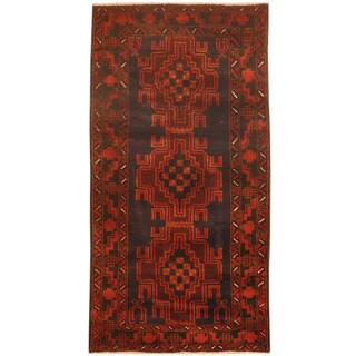 Herat Oriental Afghan Hand-knotted 1960s Semi-antique Tribal Balouchi Navy/ Red Wool Rug (2'7 x 5')