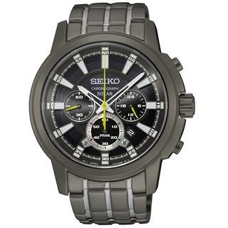 Seiko Men's SSC391 Stainless Steel Solar Chronograph Watch with a Black Dial and 6 Month Power Reserve