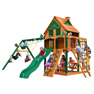 Gorilla Playsets Navigator Treehouse Swing Set with Fort Add-On and Timber Shield
