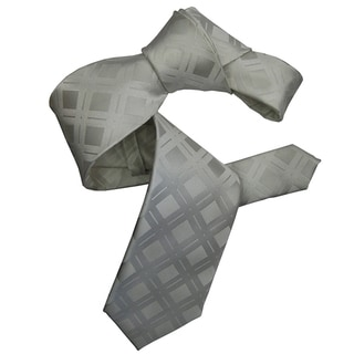 Dmitry Men's White Italian Patterned Silk Tie