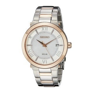 Seiko Women's SNE882 Stainless Steel Rose Gold and SilverTone Water Resistant Watch with MOP Dial