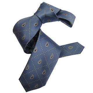Dmitry Men's Light Blue Italian Patterned Silk Tie