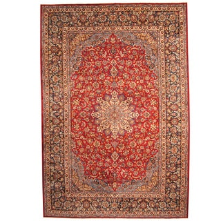 Herat Oriental Persian Hand-knotted 1960s Semi-antique Isfahan Wool Rug (11' x 16'6)