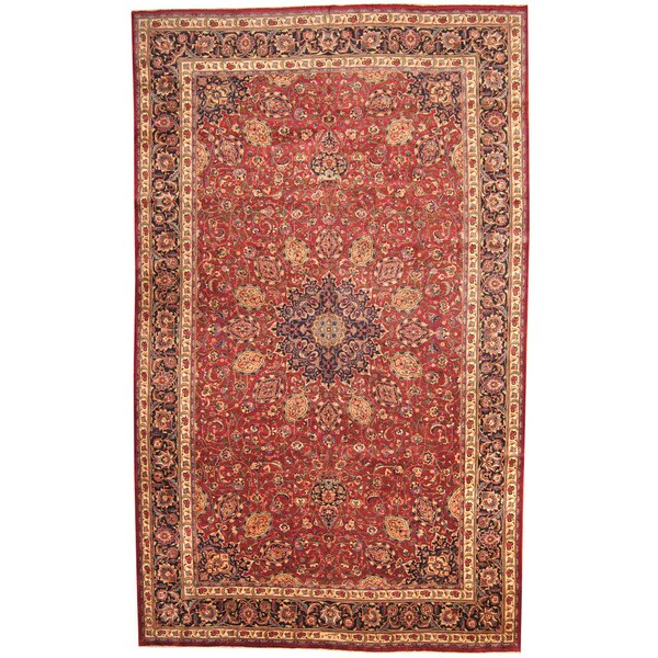 Herat Oriental Persian Hand-knotted 1970s Semi-antique Mashad Wool Rug (9'10 x 16'2) 17762435