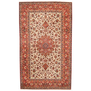 Herat Oriental Persian Hand-knotted 1960s Semi-antique Isfahan Ivory/ Red Wool Rug (10' x 17'1)