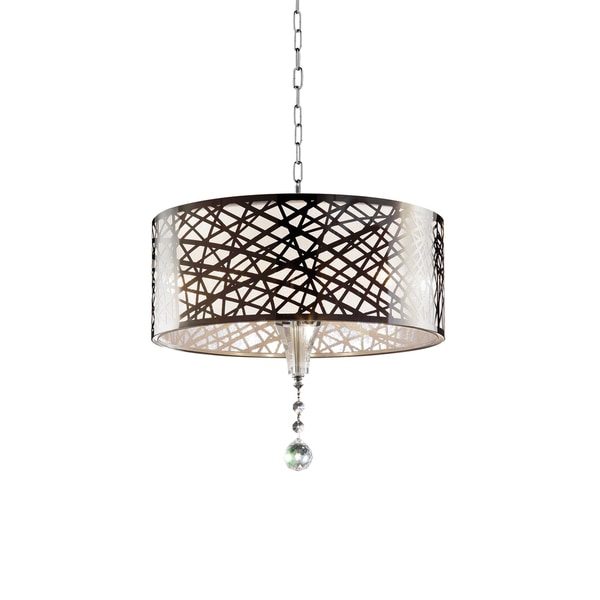 "Array Collection Modern Laser Cut Metal and Crystal 17.5"" Ceiling Lamp Shade"