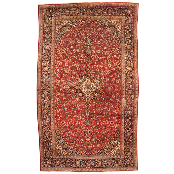 Herat Oriental Persian Hand-knotted 1960s Semi-antique Kashan Wool Rug (9'4 x 15'10) 17762506