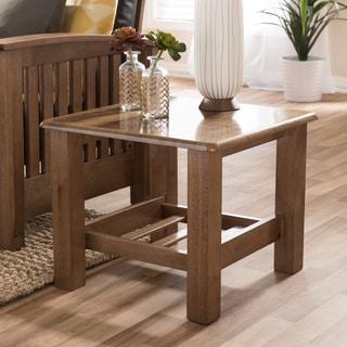Baxton Studio Callidora Modern Classic Mission Style Walnut Wood End Table