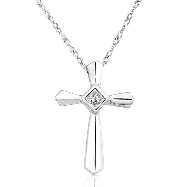 Annello 14k White Gold Diamond Cross Pendant