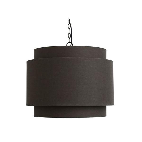 Round Dark Grey Fabric Pendant Lamp Shade