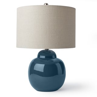 Indigo and Linen Ceramic Table Lamp