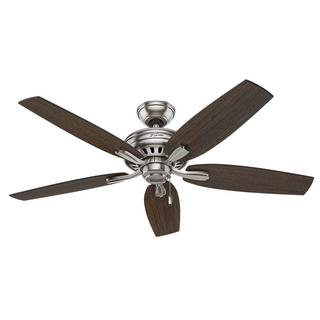 "Hunter Fan Newsome Collection Brushed Nickel and Walnut Blades 52"" Ceiling Fan"