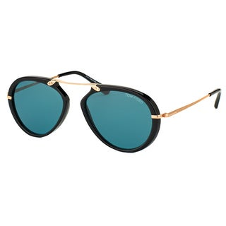 Tom Ford Aaron TF 473 01V Shiny Black Aviator Plastic Sunglasses