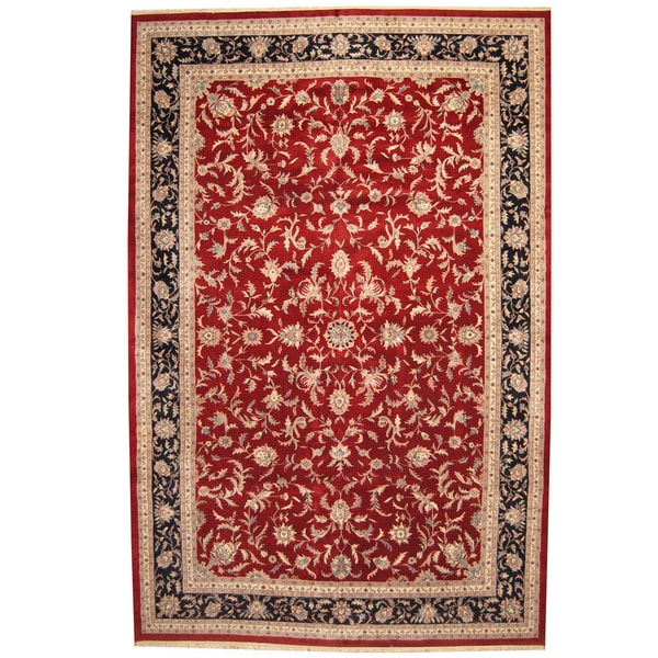 Herat Oriental Indo Persian Hand-knotted Kashan Wool Rug (12' x 18'3) 17763123
