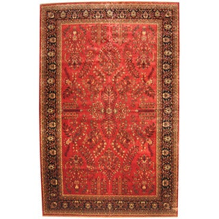 Herat Oriental Indo Persian Hand-knotted Sarouk Red/ Navy Wool Rug (11'8 x 18'1)
