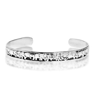 Handcrafted Herd of Elephants Sterling Silver Bracelet Cuff (Thailand)
