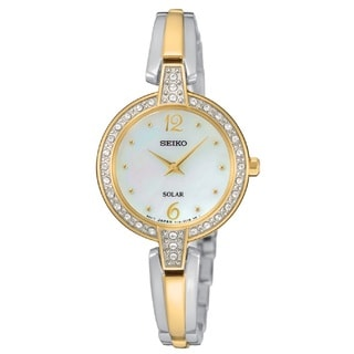 Seiko Women's SUP288 Stainless Steel Two Tone Solar Powered Watch with Austrian Crystals