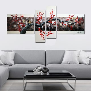 Hand-painted Black and Red Tree 4-panel Art Painting 1106
