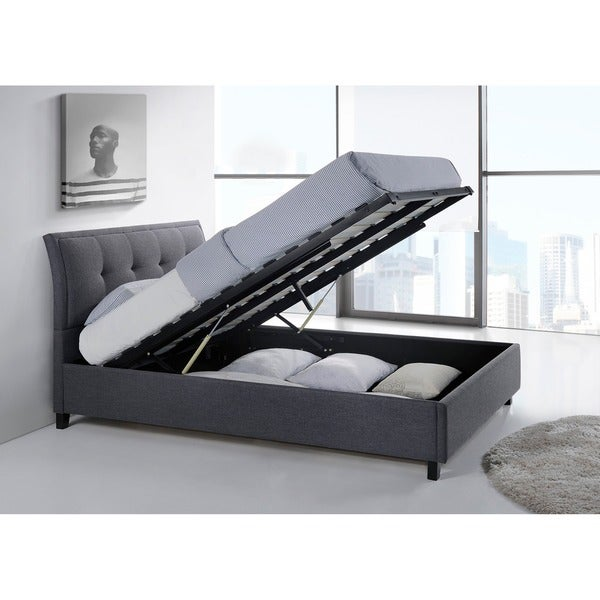 Baxton Studio Kore Modern and Dark Contemporary Queen Size Beige or Grey Ottoman Storage Platform Bed