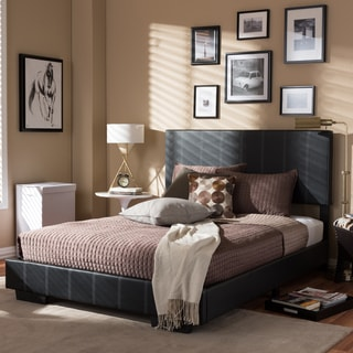 Baxton Studio Adonia Modern and Contemporary Full Size Black Faux Leather Platform Bed