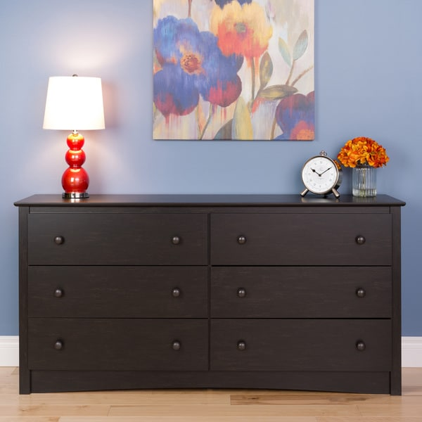 Steveston Washed Black 6-drawer Chest