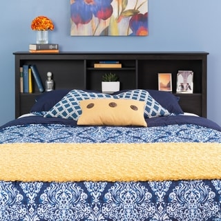 Steveston Washed Black Double/Queen Bookcase Headboard