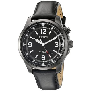 Seiko Men's SKA709 Stainless Steel Kinetic Watch with a Black Dial and 6 a Month Power Reserve