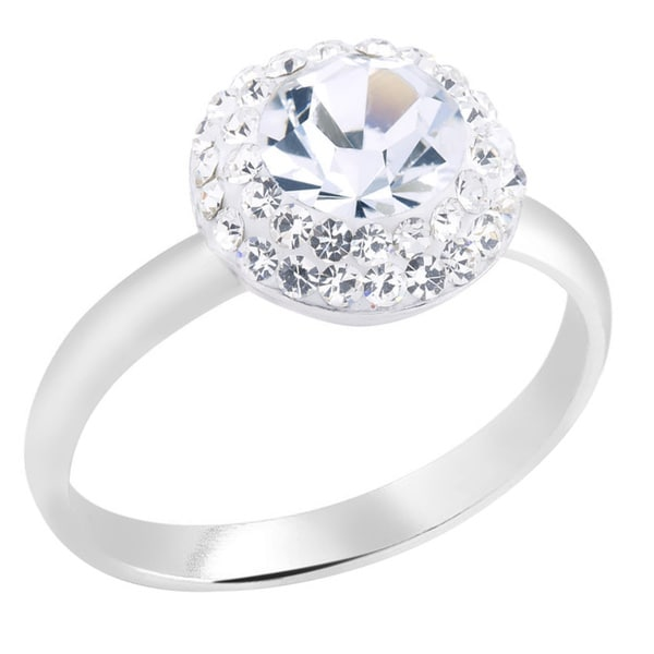 Rhodium-plated Brass 7MM Round Crystal Ring
