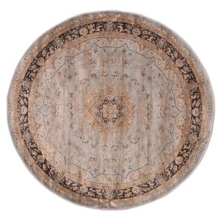 Jas Light Blue/Black Polypropylene Machine-made Round Area Rug (5'7 x 5'7)