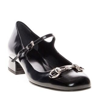 Gucci Horsebit Polished Leather Mary Jane Shoes